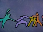 A dance...or a fight?  Art illustration from a Musical Baby segment.